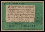 1956 Topps Davy Crockett Green Back #3   Catching a Bear  Back Thumbnail