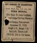 1951 Berk Ross #1 B Stan Musial  Back Thumbnail