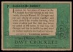 1956 Topps Davy Crockett Green Back #1   Buckskin Buddy  Back Thumbnail