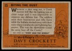 1956 Topps Davy Crockett #15   Biting the Dust  Back Thumbnail