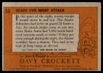 1956 Topps Davy Crockett #56   Ready for Night Attack  Back Thumbnail