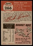 1953 Topps #266  Bob Cain  Back Thumbnail