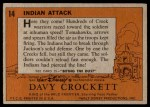 1956 Topps Davy Crockett #14   Indian Attack  Back Thumbnail