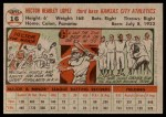 1956 Topps #16  Hector Lopez  Back Thumbnail