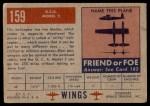 1952 Topps Wings #159   G.C.A. Model-2 Back Thumbnail