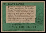 1956 Topps Davy Crockett Green Back #11   Davy's Gamble  Back Thumbnail