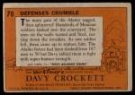 1956 Topps Davy Crockett #70   Defenses Crumble  Back Thumbnail