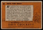1956 Topps Davy Crockett #41   Vote For Davy!  Back Thumbnail