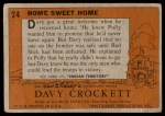 1956 Topps Davy Crockett #24   Home Sweet Home  Back Thumbnail