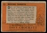 1956 Topps Davy Crockett #13   Moving Target  Back Thumbnail