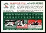 1954 Topps Archives #74  Bill Taylor  Back Thumbnail