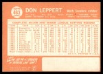 1964 Topps #463  Don Leppert  Back Thumbnail