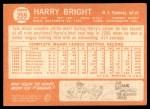 1964 Topps #259  Harry Bright  Back Thumbnail