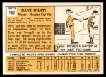 1963 Topps #189  Dave Giusti  Back Thumbnail