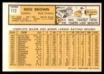 1963 Topps #112  Dick Brown  Back Thumbnail