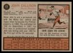 1962 Topps #17  Johnny Callison  Back Thumbnail