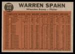 1962 Topps #312   -  Warren Spahn Shows No-Hit Form Back Thumbnail