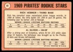 1969 Topps #82   -  Al Oliver / Rich Hebner Pirates Rookies Back Thumbnail