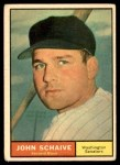 1961 Topps #259  John Schaive  Front Thumbnail