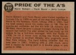1962 Topps #127 NRM  -  Norm Siebern / Hank Bauer / Jerry Lumpe Pride of the A's Back Thumbnail