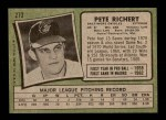 1971 Topps #273  Pete Richert  Back Thumbnail