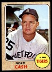 1968 Topps #256  Norm Cash  Front Thumbnail
