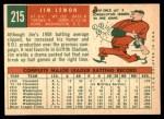 1959 Topps #215  Jim Lemon  Back Thumbnail