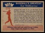 1959 Fleer #56   -  Ted Williams 2,000th Major League Hit Back Thumbnail