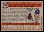 1957 Topps #196  Larry Jackson  Back Thumbnail