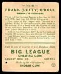1933 Goudey #58  Lefty ODoul  Back Thumbnail