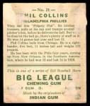1933 Goudey #21  Phil Collins  Back Thumbnail