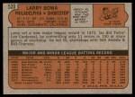 1972 Topps #520  Larry Bowa  Back Thumbnail