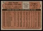 1972 Topps #701  Jose Pagan  Back Thumbnail
