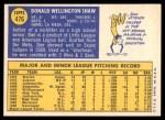 1970 Topps #476  Don Shaw  Back Thumbnail