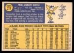 1970 Topps #277  Paul Doyle  Back Thumbnail