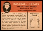 1961 Fleer #145  Hal Trosky  Back Thumbnail