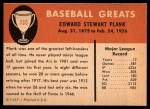 1961 Fleer #135  Eddie Plank  Back Thumbnail