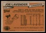 1981 Topps #474  Joe Lavender  Back Thumbnail