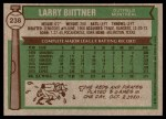 1976 Topps #238  Larry Biittner  Back Thumbnail
