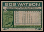 1977 Topps #540  Bob Watson  Back Thumbnail
