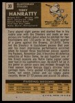 1971 Topps #30  Terry Hanratty  Back Thumbnail