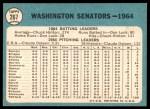 1965 Topps #267   Senators Team Back Thumbnail