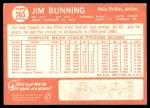 1964 Topps #265  Jim Bunning  Back Thumbnail