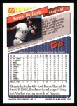 1993 Topps #222  Bernie Williams  Back Thumbnail