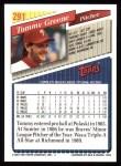 1993 Topps #291  Tommy Greene  Back Thumbnail