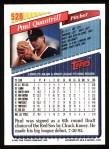 1993 Topps #528  Paul Quantrill  Back Thumbnail