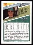 1993 Topps #753  Jim Corsi  Back Thumbnail