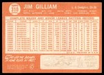 1964 Topps #310  Jim Gilliam  Back Thumbnail