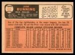 1966 Topps #435  Jim Bunning  Back Thumbnail