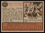 1962 Topps #182 NRM Bob Nieman  Back Thumbnail